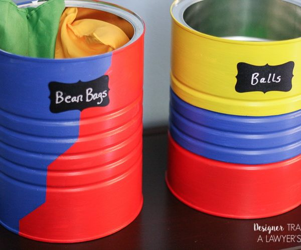 LOVE this upcycled DIY toy storage from old coffee cans! Full tutorial by Designer Trapped in a Lawyer's Body. #spon