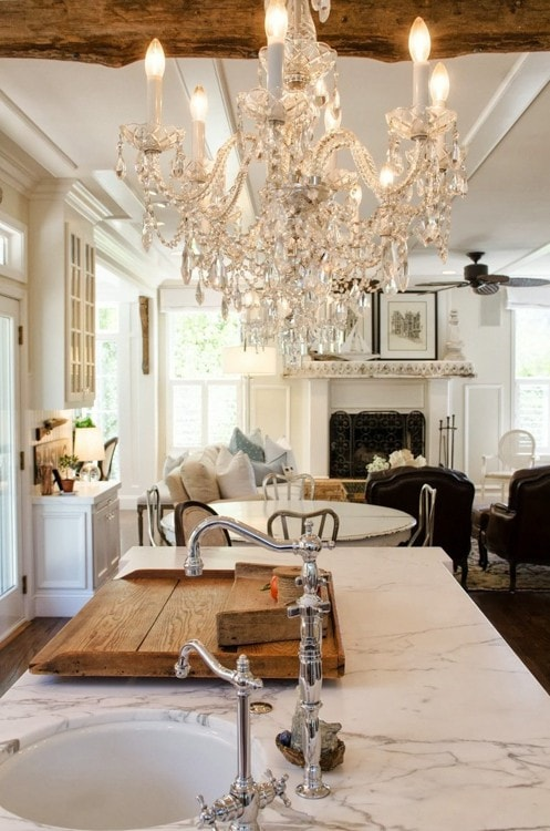 glam chandelier with beams