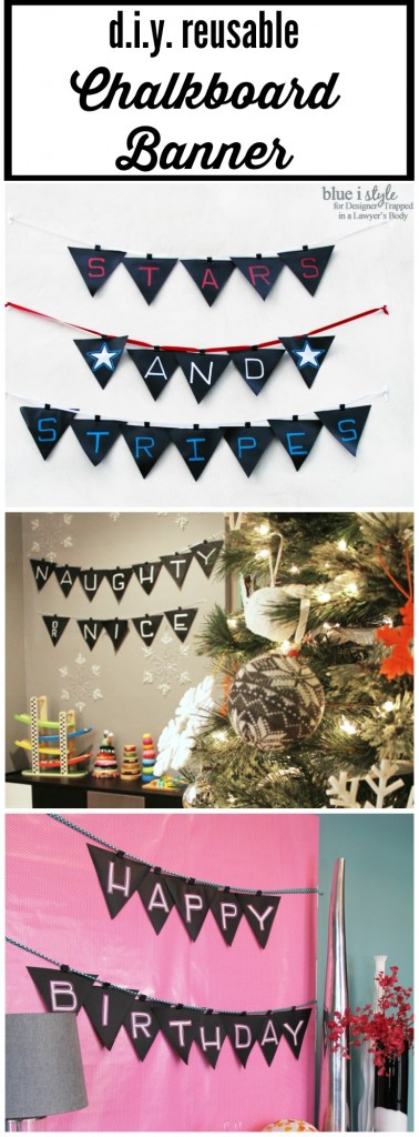 CUTE & REUSABLE! Create this easy DIY chalkboard banner to for endless banner options! Just string them up on ribbon or twine to decorate for any holiday, party, or celebration! Detailed tutorial by Blue i Style for Designer Trapped in a Lawyer's Body.