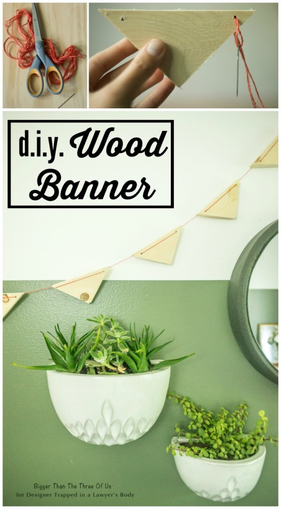 Make this Modern DIY Scrap Wood Banner in Just a few Steps! Full tutorial from Bigger Than the Three of Us for Designer Trapped in a Lawyer's Body.