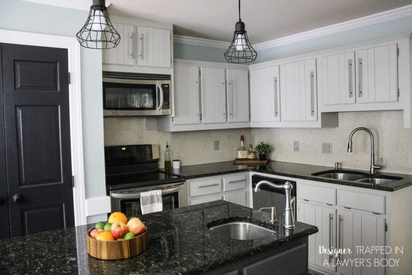 DIY cabinets in gray kitchen