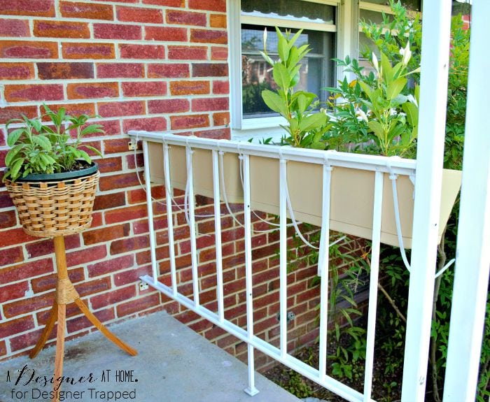 Heavy Duty zip ties help stabilize window planters against unsteady porch railing A Designer At Home for Designer Trapped