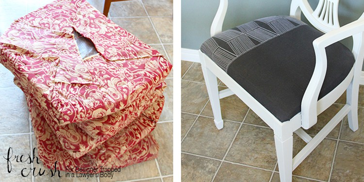 WHAT?! You gotta see what she used instead of fabric, for this fun dining chair makeover! Get Grandma's tired old set out of storage, and into this century! Full Tutorial by Fresh Crush for Designer Trapped in a Lawyer's Body.