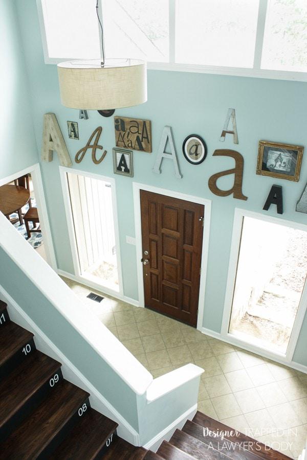 letterwall in foyer