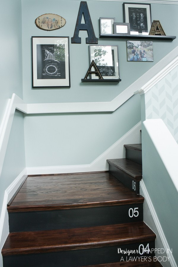 stairwell with DIY numbers