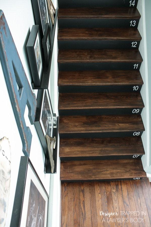 diy numbered stairs