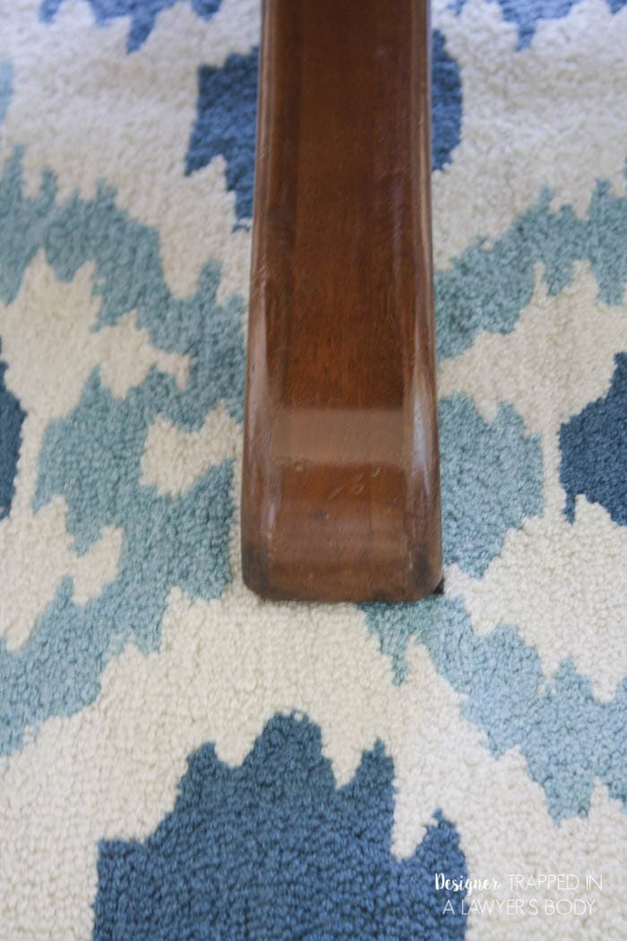 refinished table leg close up