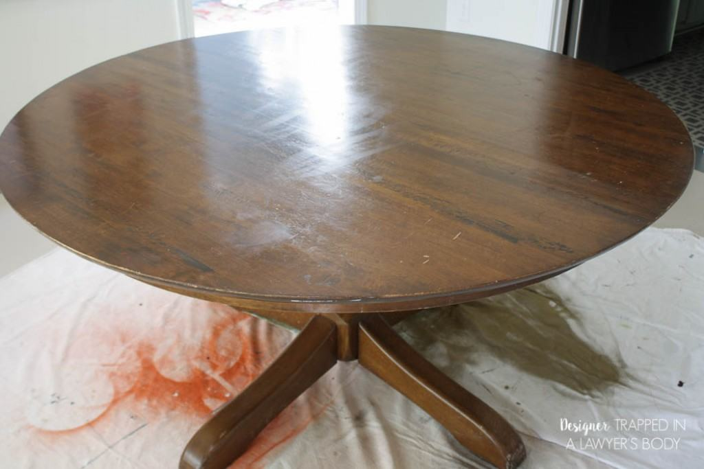 how to refinish a table without sanding stripping rh designertrapped com Repainting Wood Furniture without Sanding Painting Stained Furniture without Sanding
