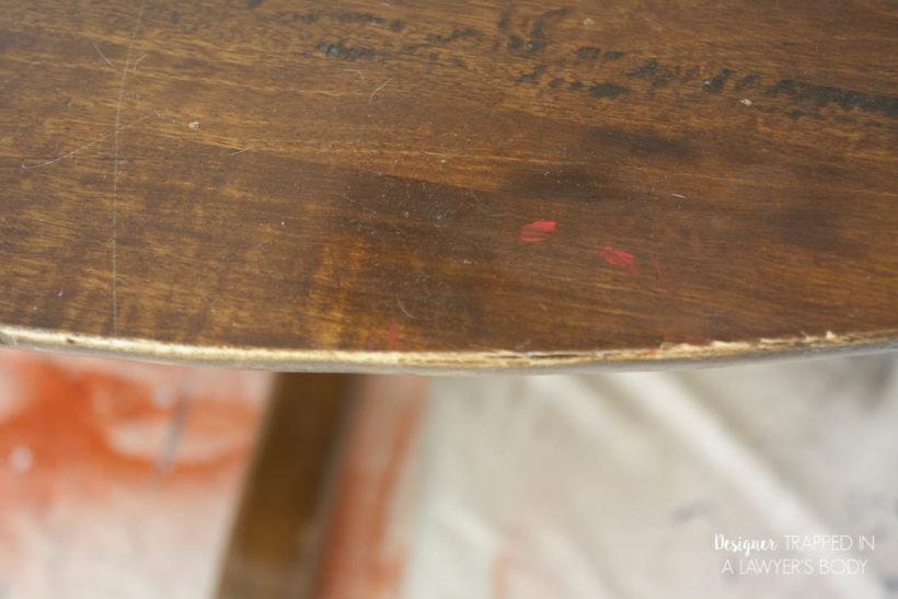 damaged table edge