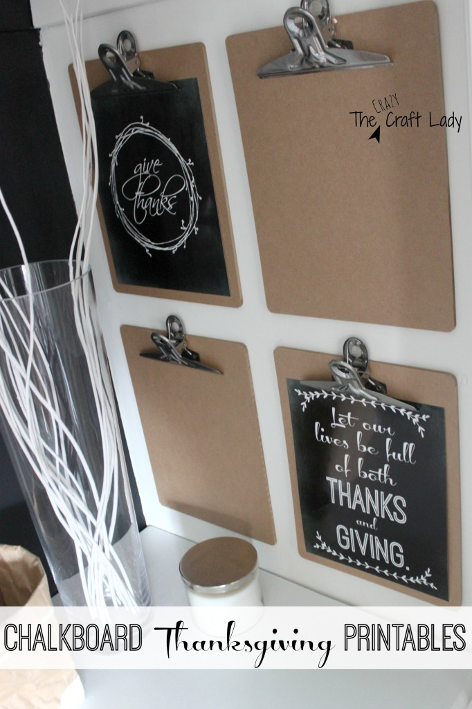 Two FREE Thanksgiving chalkboard printables from The Crazy Craft Lady.