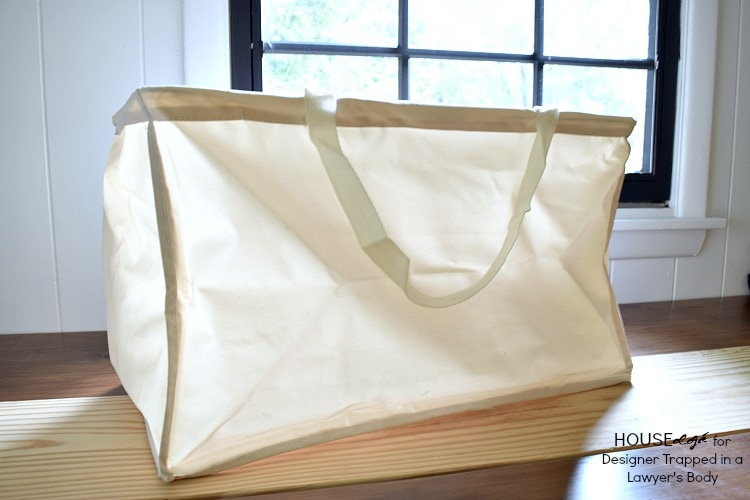 WOW! Modern hand stamped canvas totes for laundry, cleaning supplies, just about anything!!