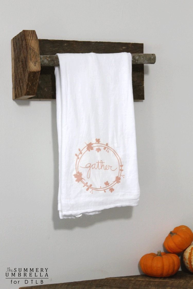 Create this fall inspired DIY Gather Tea Towel with this simple tutorial by The Summery Umbrella for Designer Trapped in a Lawyer's Body!