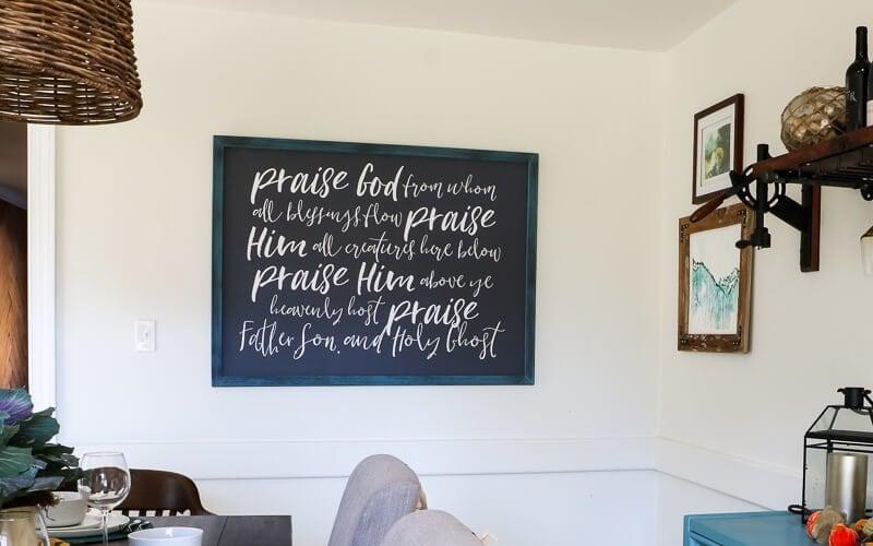 diy frame hanging on wall