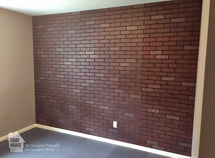 How to paint a faux brick wall easy diy project - Fake brick wall covering interior ...