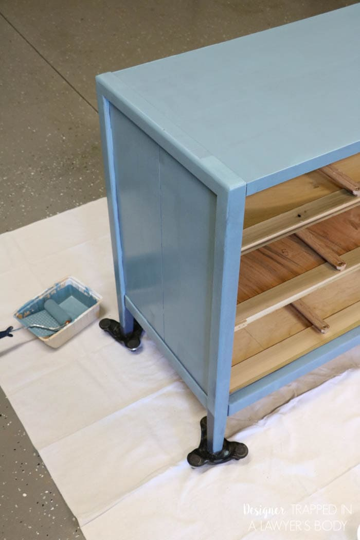 painting dresser with chalk based paint