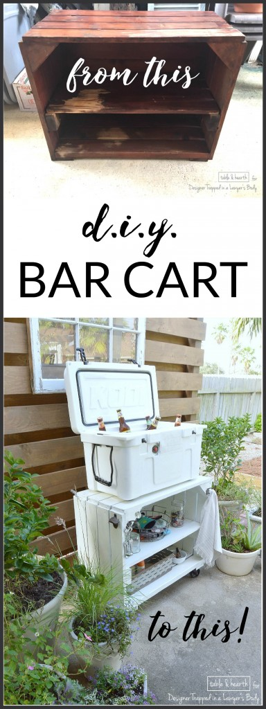 AMAZING tranformation of a plain, beat up bookshelf into a beautifully rustic and distressed DIY bar cart! Full tutorial by Table + Hearth for Designer Trapped in a Lawyer's Body.