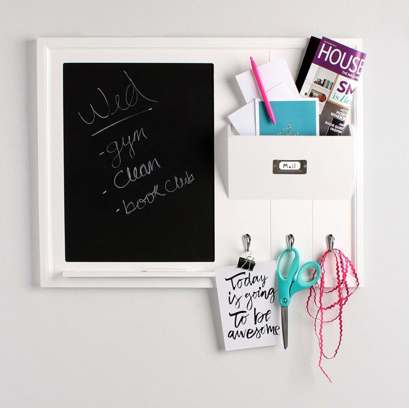 white wood chalkboard mail organizer