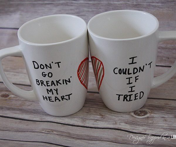 OMG! I love these DIY His and Hers mugs by Designer Trapped in a Lawyer's Body! Full tutorial included. They are easy and ADORABLE!!!