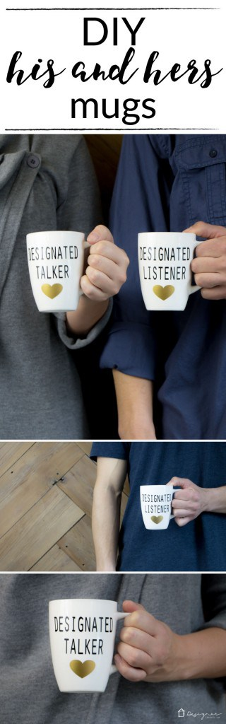 OMG, LOVE THESE DIY his and hers mugs! Designated talker and designated listener--so funny. / designertrapped.com