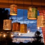DIY outdoor chandelier made from vintage coffee cans and oyster cans! SO UNIQUE!! from www.heatherednest.com