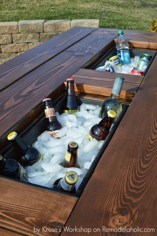 The ultimate in DIY outdoor projects--picnic table with a cooler built in!