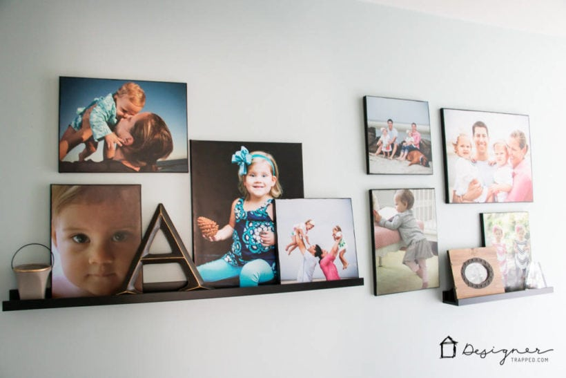 photo canvases on ledge