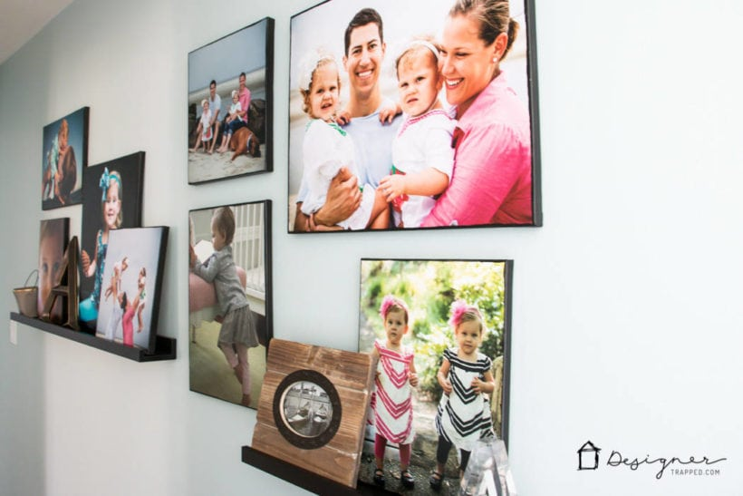 DIY photo canvases on ledge