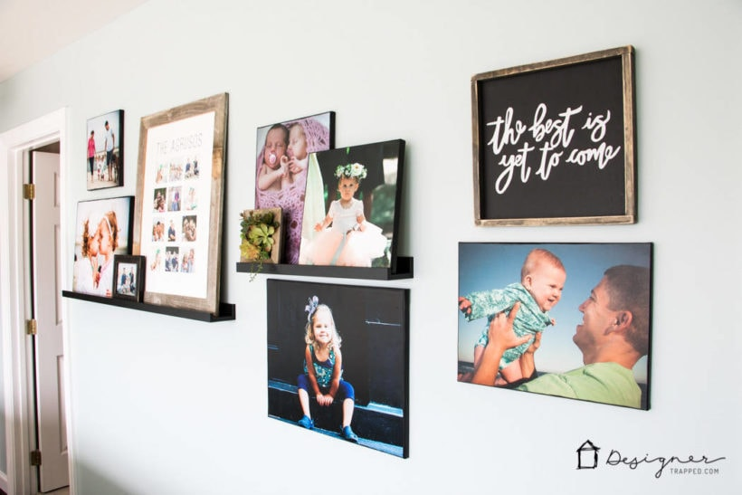 gallery wall with ledges and photo canvases