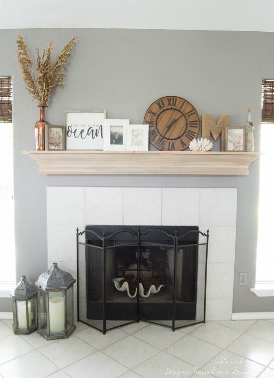 DIY Fireplace Mantel With a Driftwood Finish ...