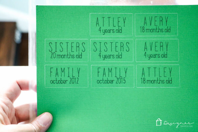 cutting machine labels on green paper