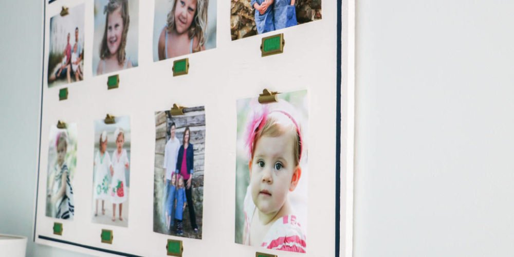 What a fun way to display family photos! Love, love, love these DIY personalized photo frames. Super easy to change out photos whenever you want to!