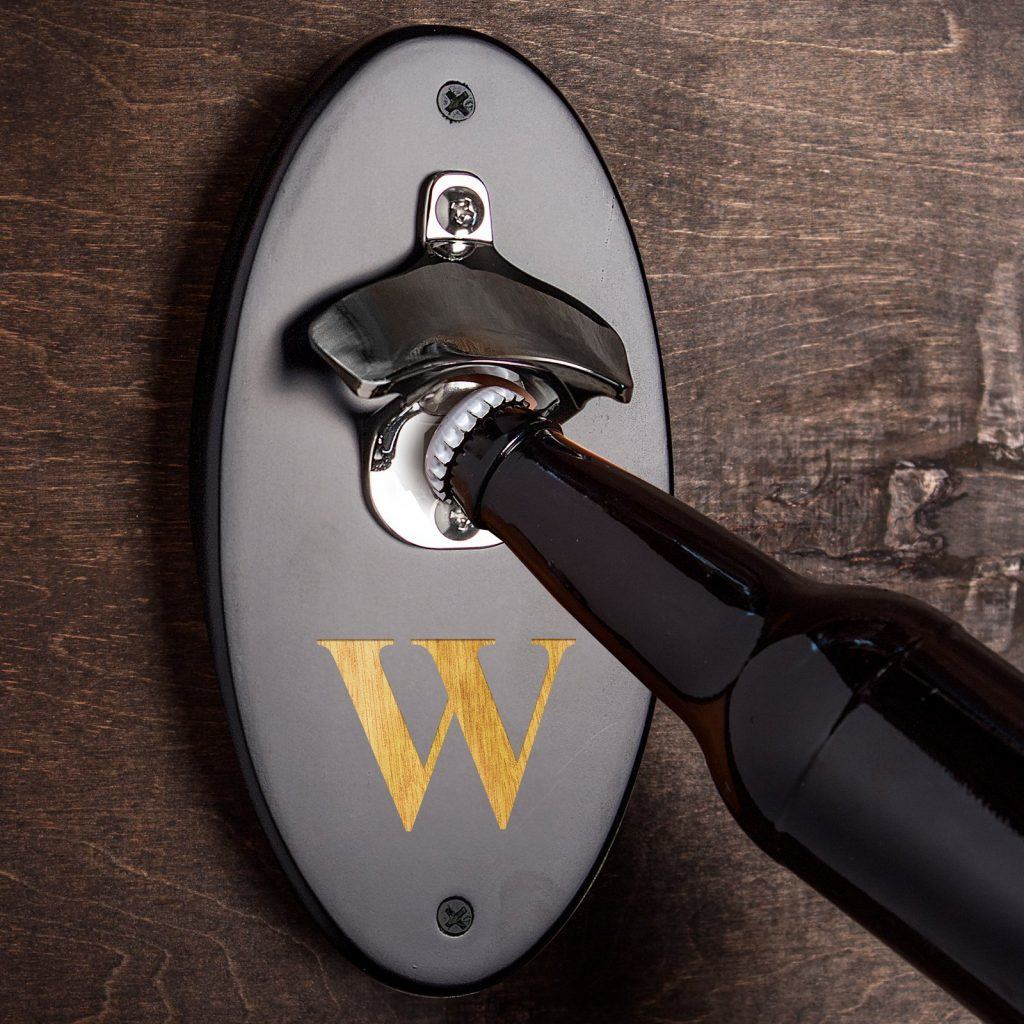 monogrammed wall bottle opener
