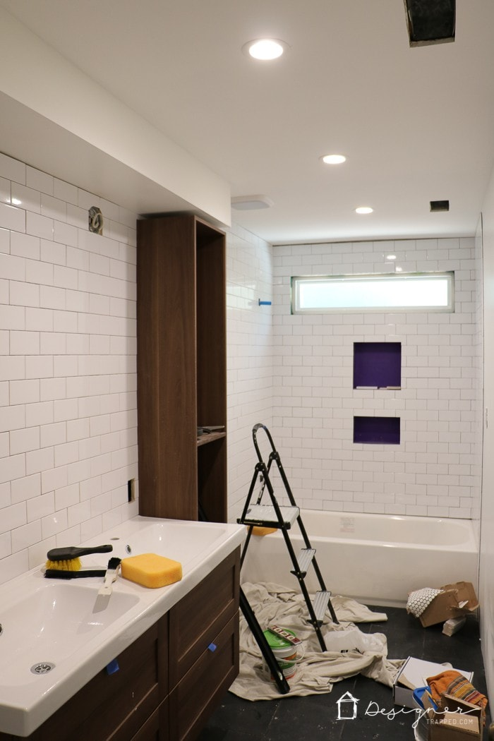 OMG, I can't believe how dramatic this DIY bathroom renovation is - including DIY bathroom tile!