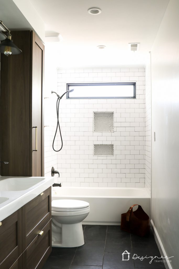 OMG, I can't believe how dramatic this DIY bathroom renovation!