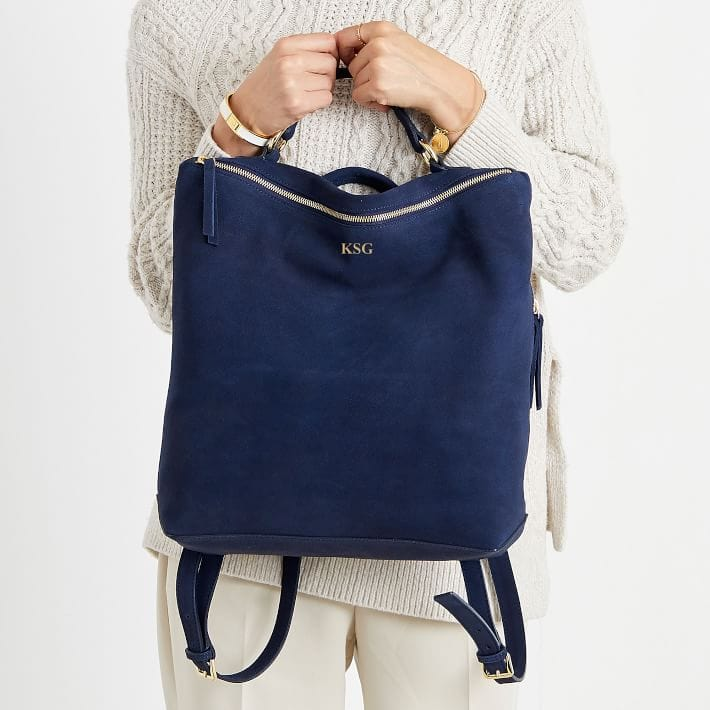 suede monogrammed backpack purse