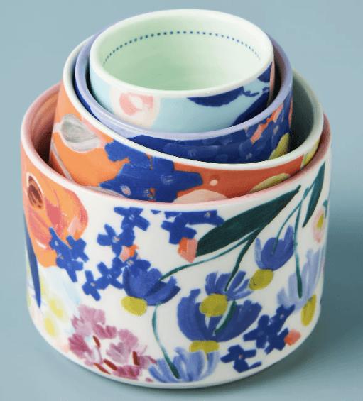 flowered ceramic measuring cups