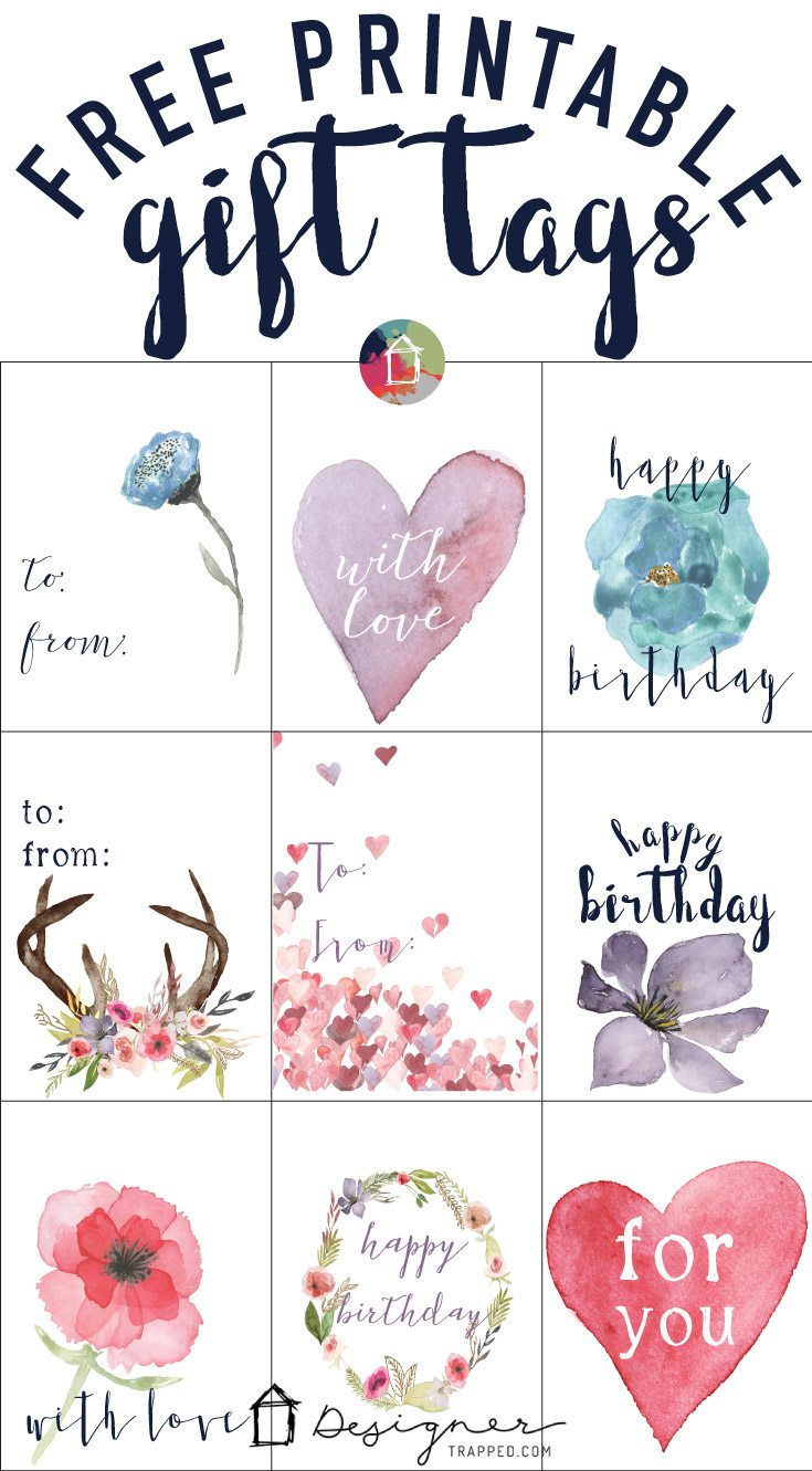 graphic regarding Free Printable Gift Tags named Cost-free Printable Present Tags for Birthdays