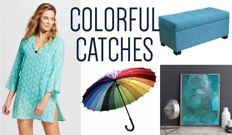 These are the colorful catches I've fallen in love with this month. Check out my blog every month to find awesome colorful furniture, home decor, accessories and fashion in the Colorful Catches series by Designer Trapped in a Lawyer's Body