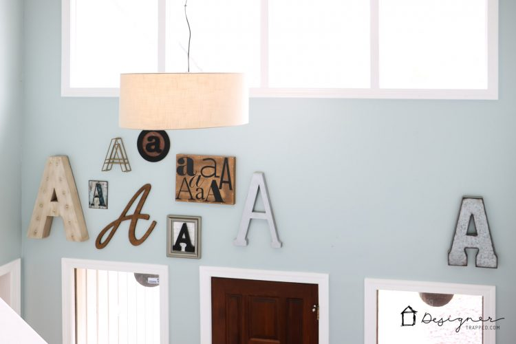 OMG! I am obsessed with this gorgeous wall full of typography art! How fun to pick your last name initial and create a monogram gallery wall?! And this blogger shares the best sources for where to find large wall letters! Saving!
