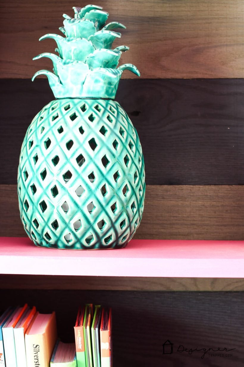 billy book case with turquoise pineapple