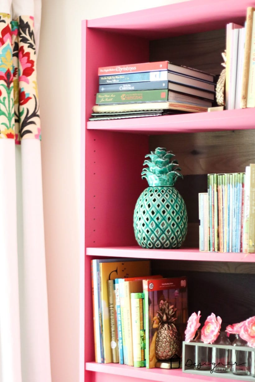 pink painted ikea bookshelves