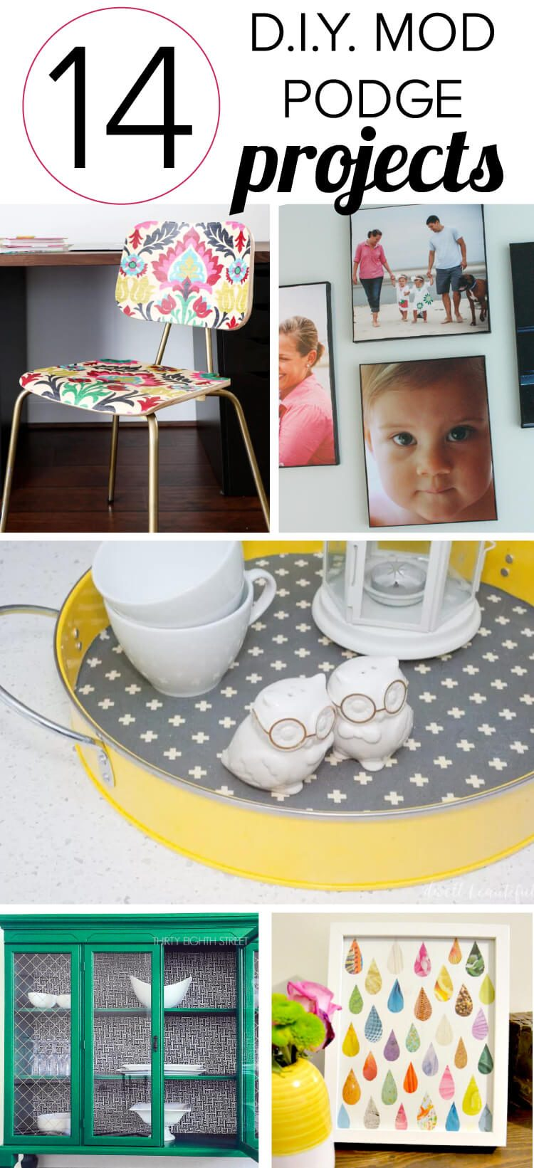 There are so many amazing mod podge crafts and DIY mod podge projects out there. I am BLOWN away by some of these ideas, especially numbers 1 and 7. Can't wait to try them.