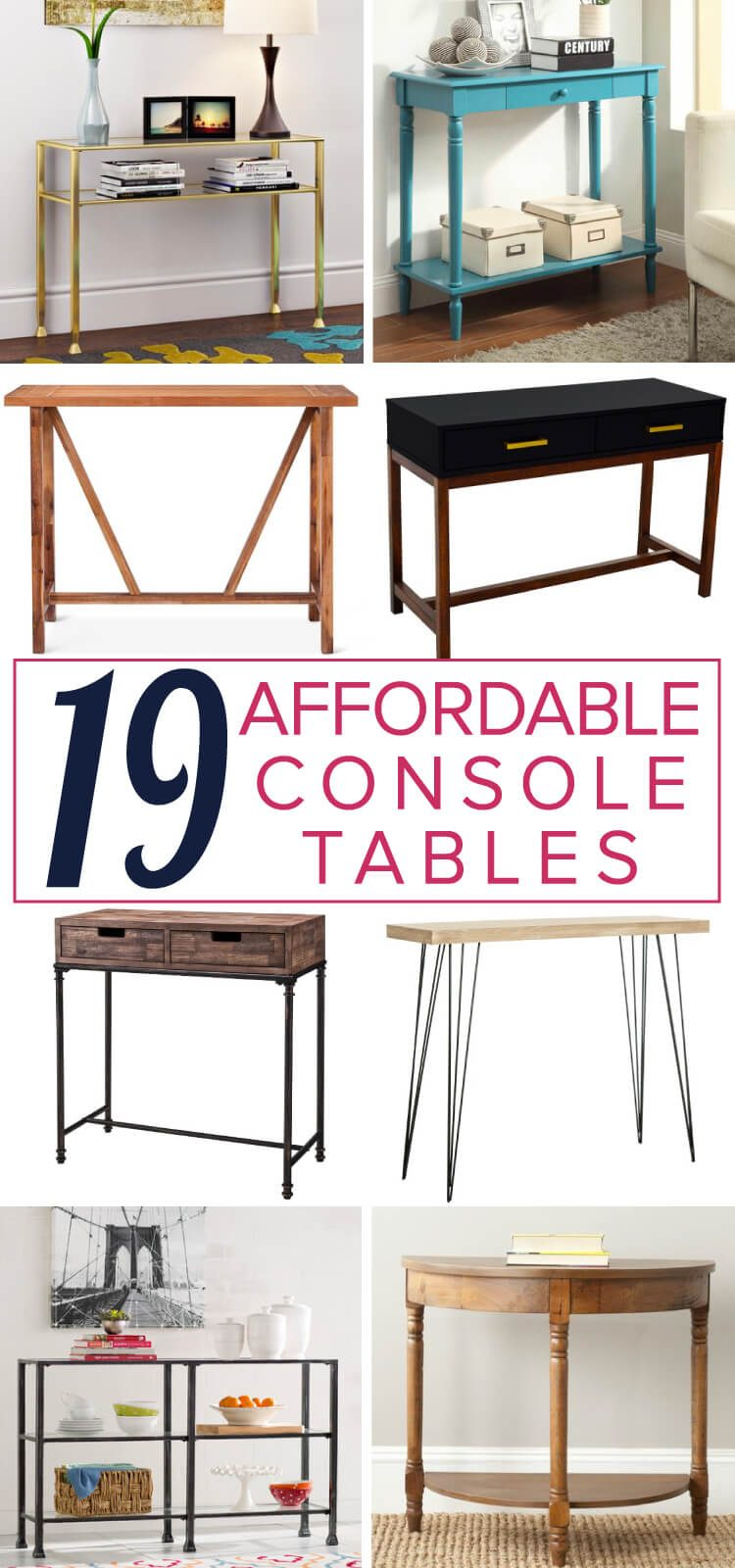 Console tables are so versatile and can be used so many different ways in your home. This list of affordable console, sofa and entry tables is full of so many great and budget-friendly table options.