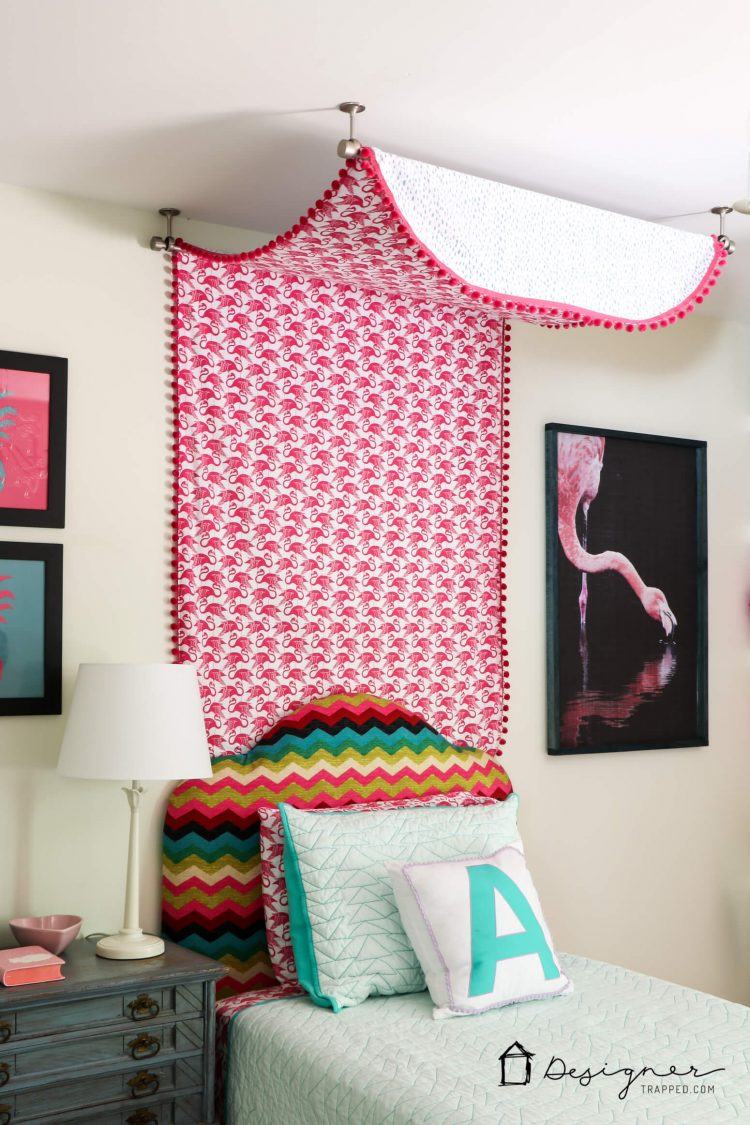 OMG, this DIY bed canopy is amazing! I can't believe this girl's bed canopy is made from flat sheets. It looks so easy to make! I can't wait to try it!