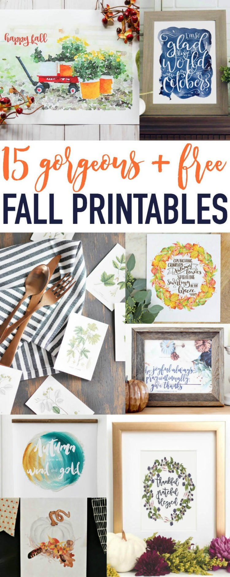 The free fall printables are perfect for your home Fall decor. #fallprintables #freeprintables