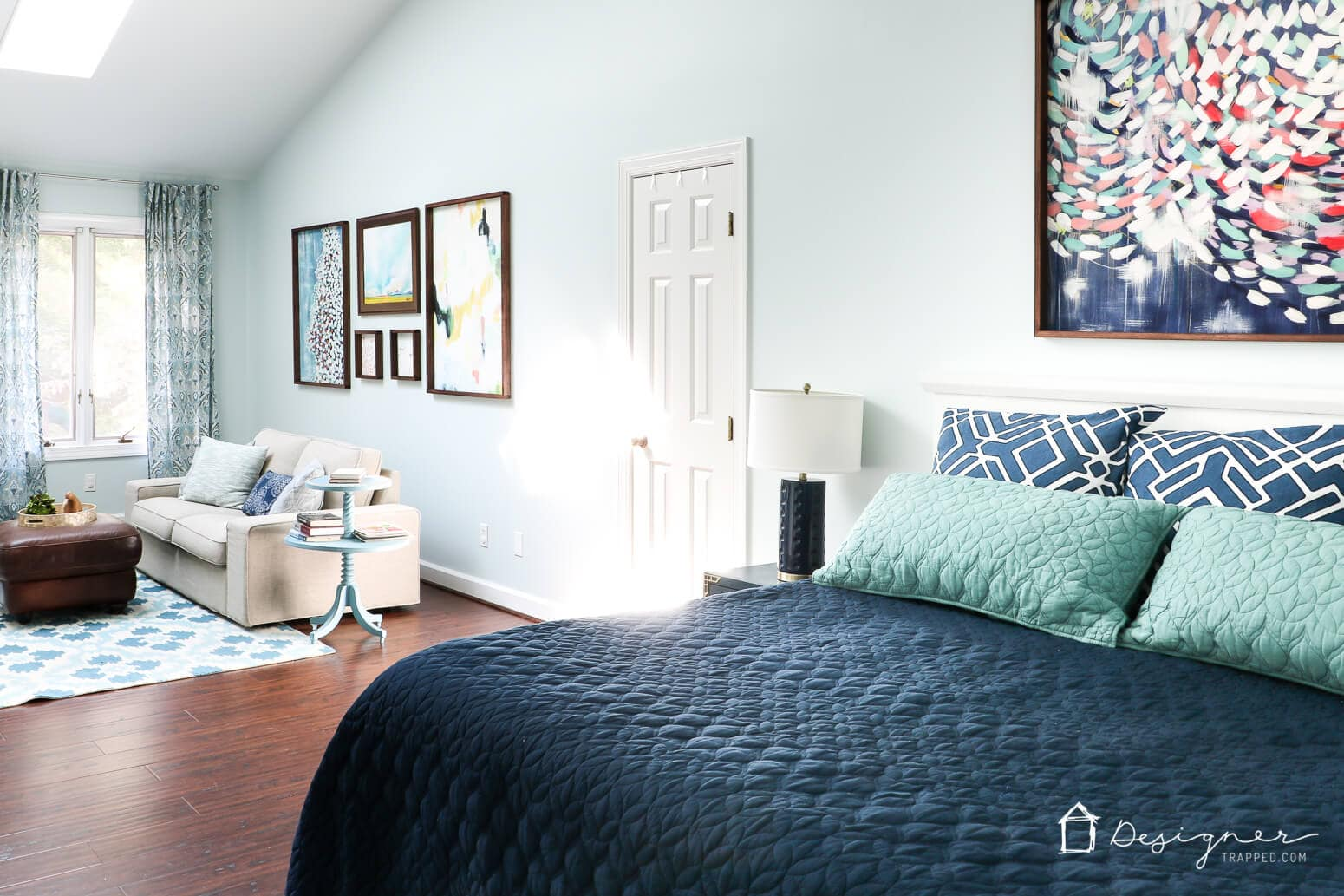 After 4 years of blank walls in our master bedroom, we have added art to the walls and OH WHAT A DIFFERENCE it has made! Check out the transformation for yourself.
