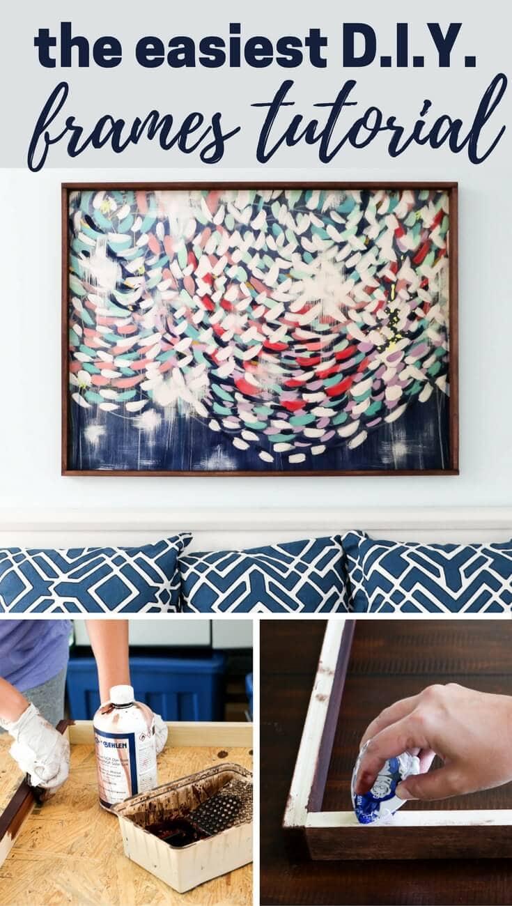 Learn how to make picture frames for large prints. Easy DIY frames tutorial. #DIYframe