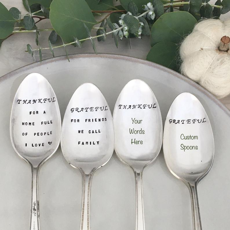stamped serving spoons