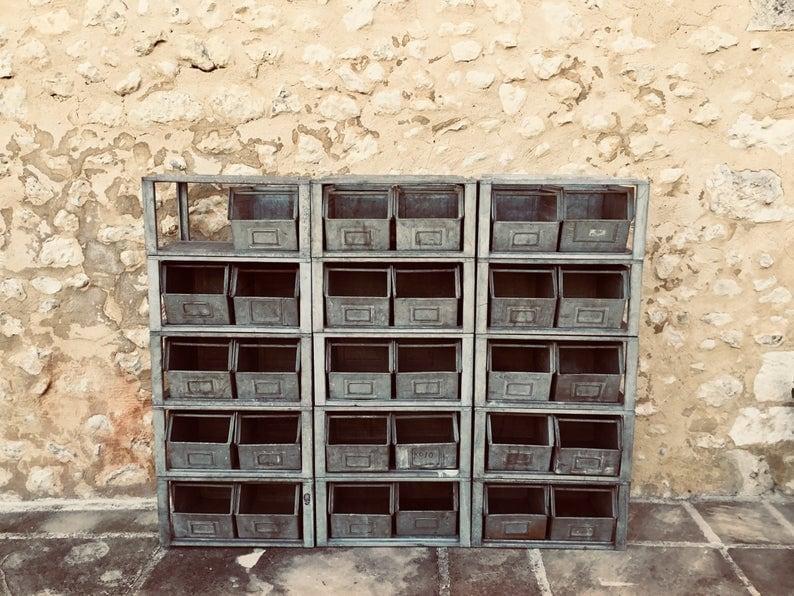 vintage metal bins