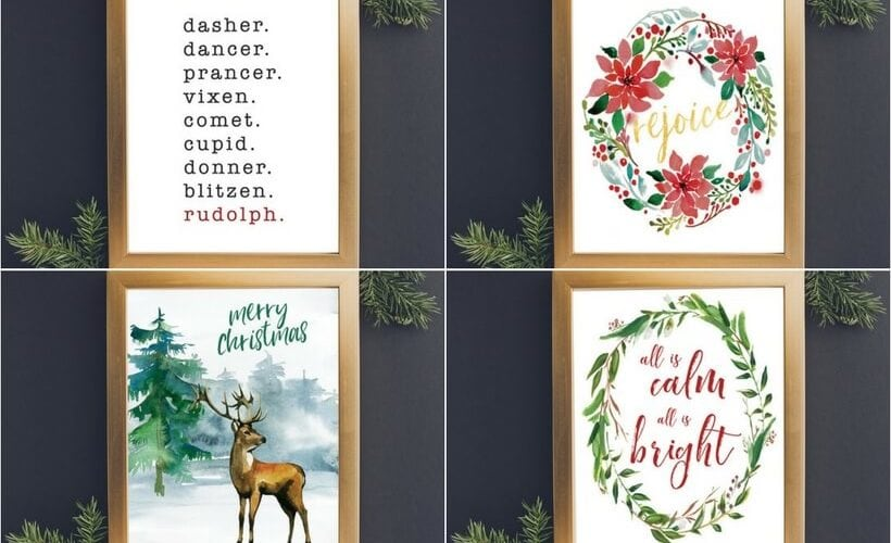 These free Christmas printables are a beautiful and easy way to add a touch of holiday joy to your home! Grab them for yourself or print them off and frame them for the perfect Christmas gifts for others!